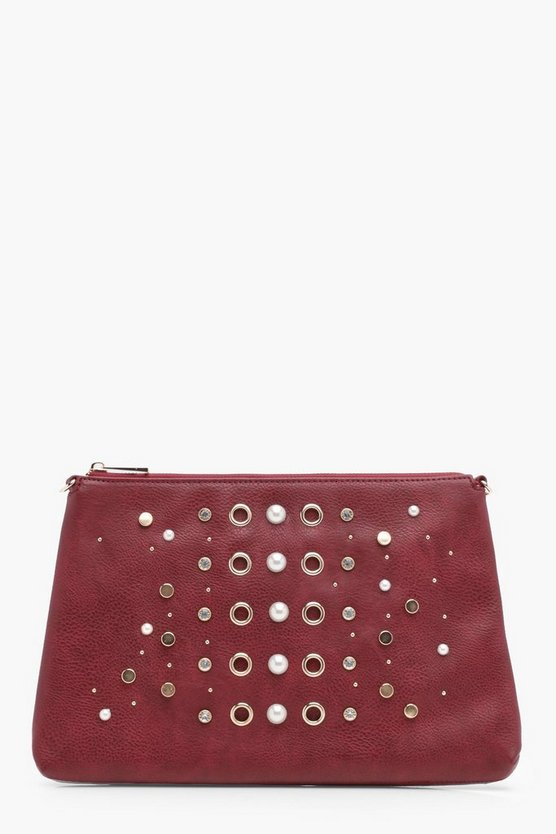 Maisy Pearl And Eyelet Zip Top Clutch