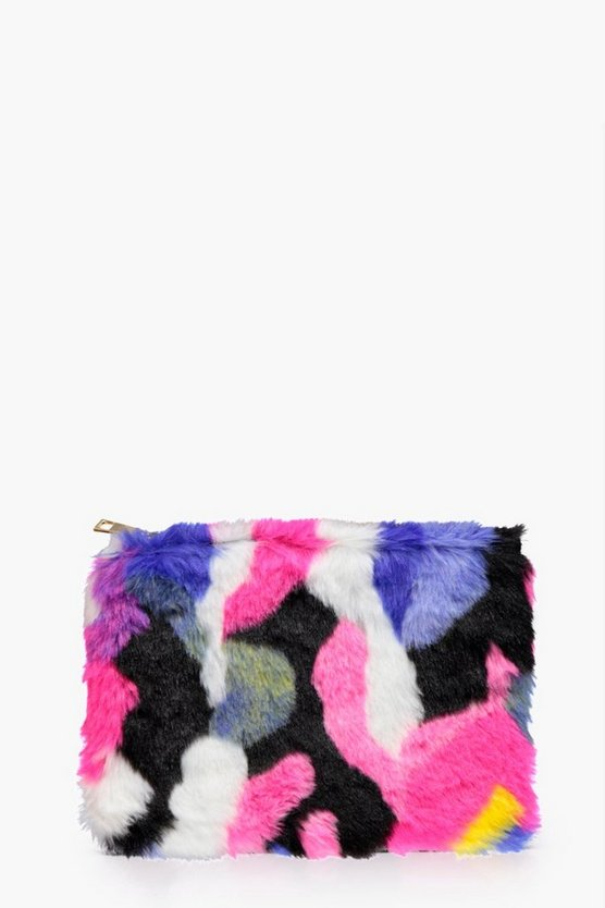 Frankie Multicoloured Faux Fur Zip Top Clutch