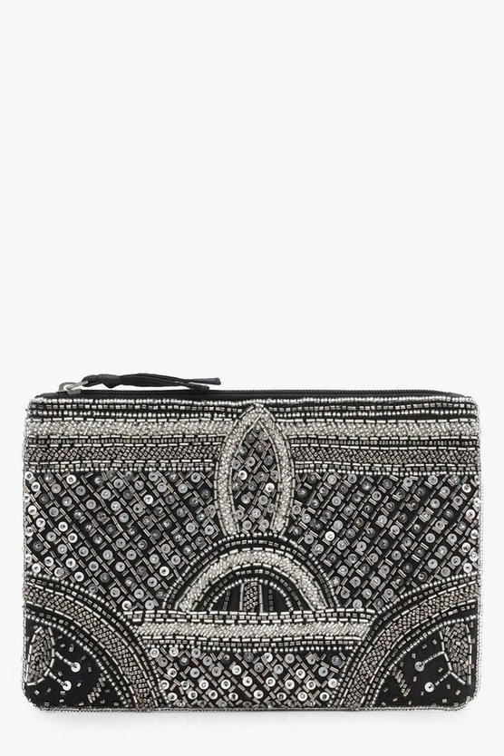 Rebecca Deco Beaded Clutch Bag