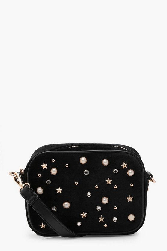 Pearl and Star Camera Cross Body Bag