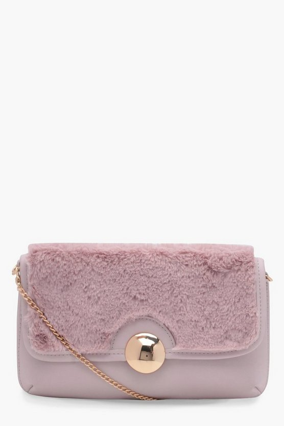 Harriet Contrast Faux Fur Cross Body Bag