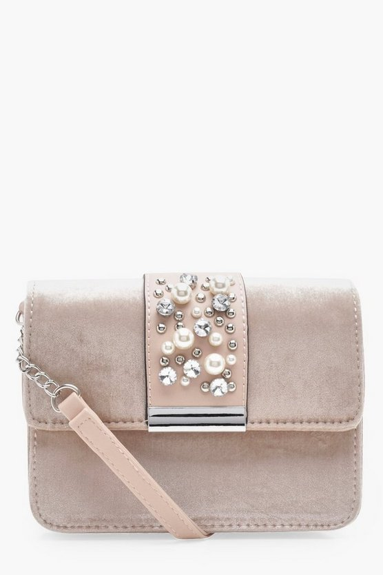 Sarah Velvet Pearl Cluster Cross Body Bag
