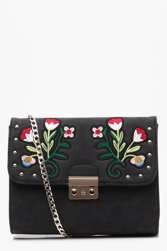 Lena Embroidered Lock Cross Body Bag