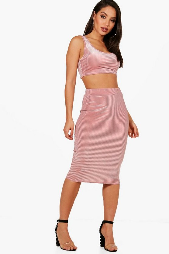 Lola Ribbed Velvet Crop and Midi Skirt Set