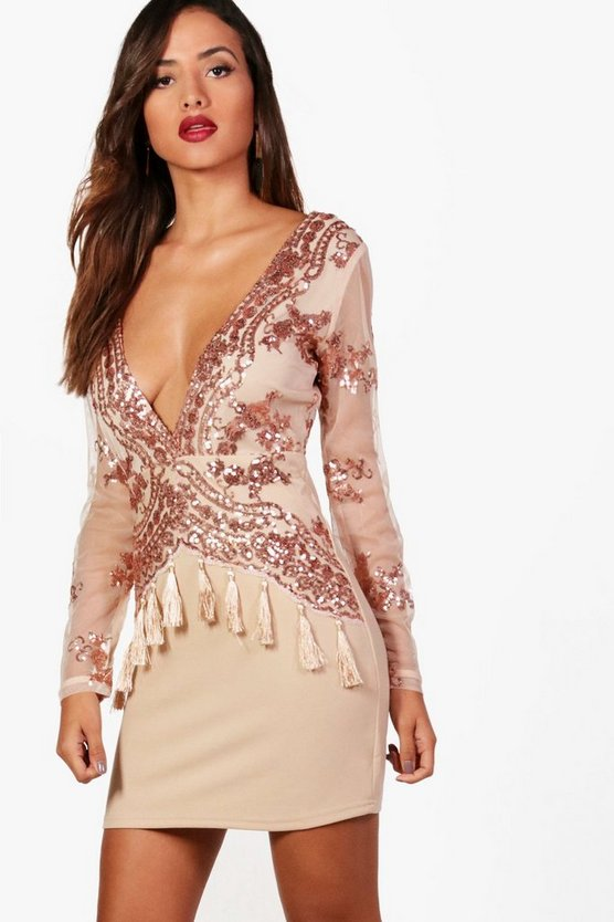 Boutique Fi Sequin and Tassel Bodycon Dress