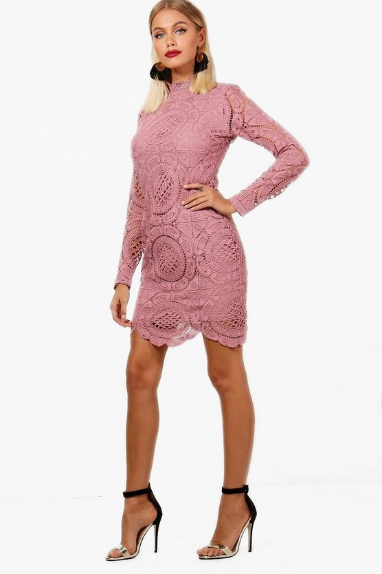 Lace Scallop Detail High Neck Bodycon Dress