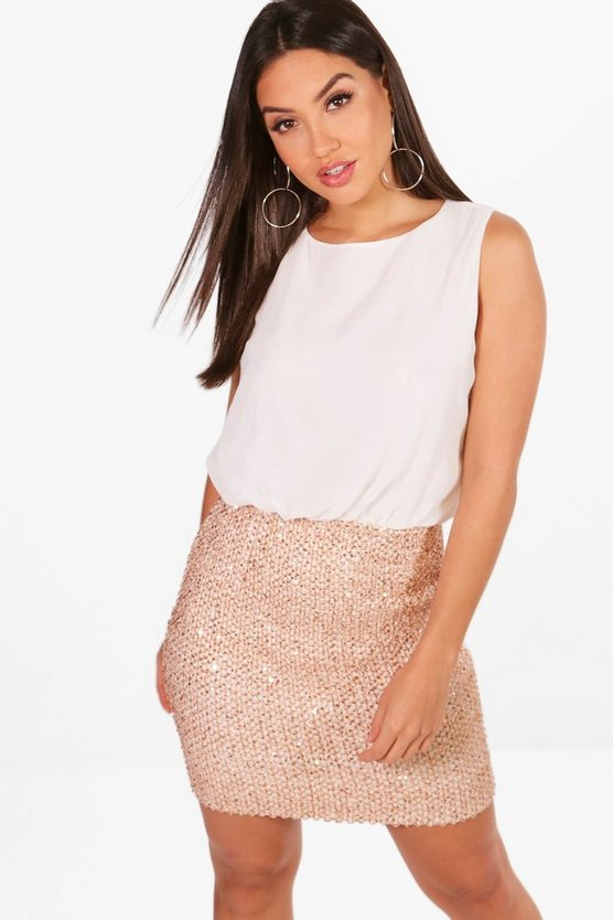 Boutique Elise Chiffon Top Bodycon Dress