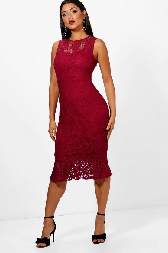 Boutique Hayley Lace Frill Hem Midi Dress