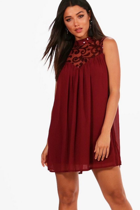 Boutique Sequin Chiffon Swing Dress