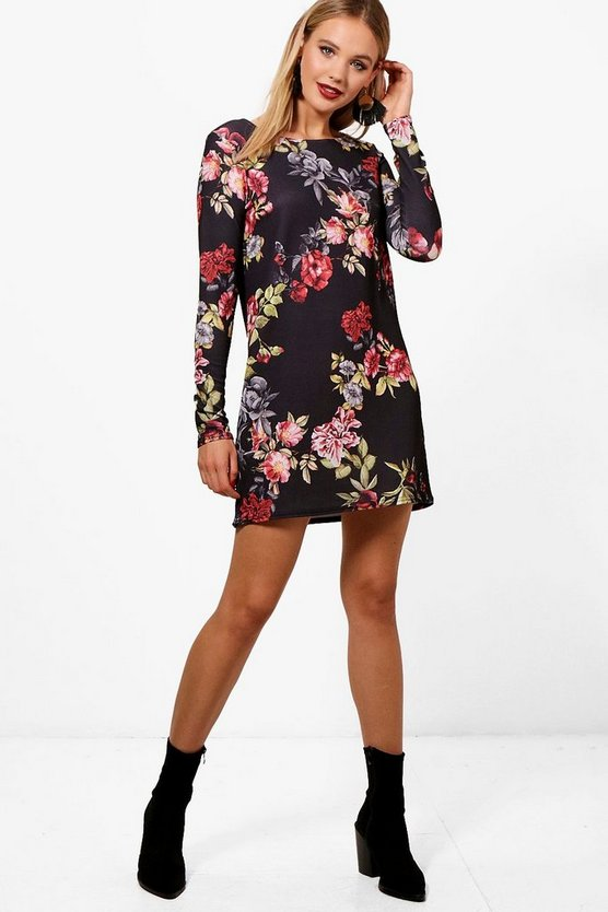Alia Long Sleeve Floral Shift Dress