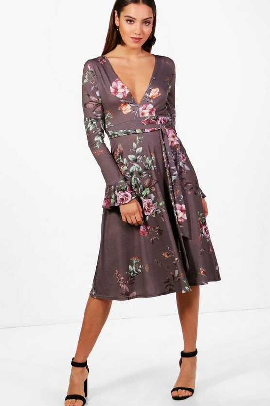 Ayra Plunge Floral Frill Sleeve Midi Dress