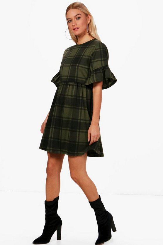 Eva Tartan Frill Sleeve Smock Dress