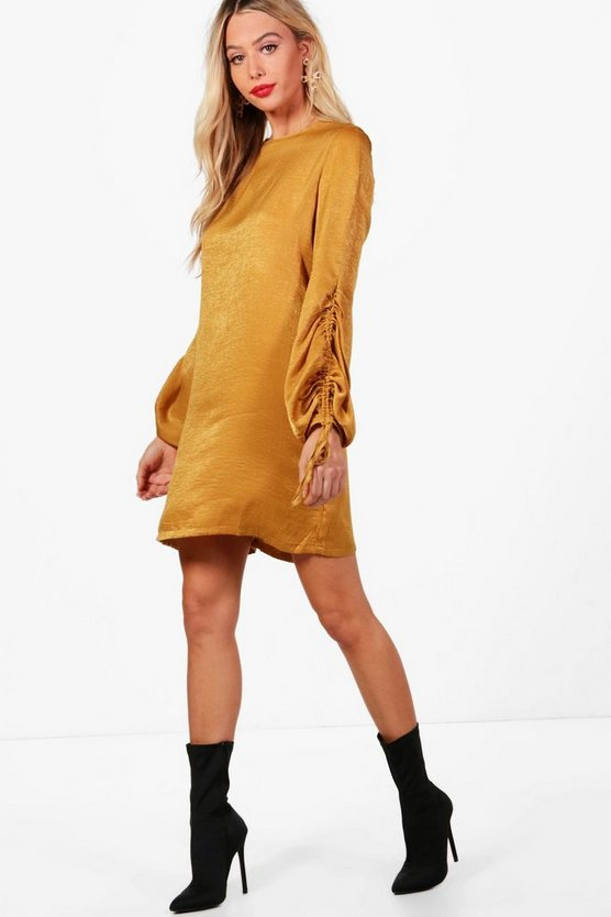 Em Hammered Satin Blouson Sleeve Shift Dress