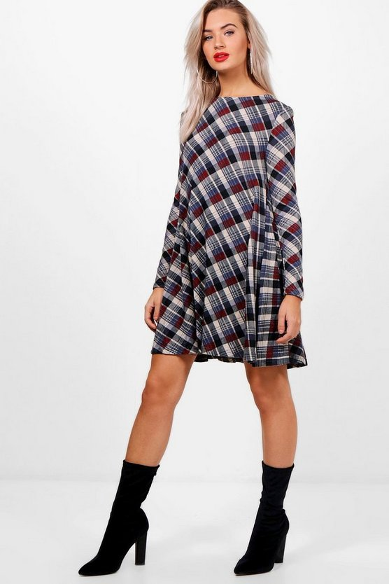 Niamh Diagonal Check Brush Knit Swing Dress