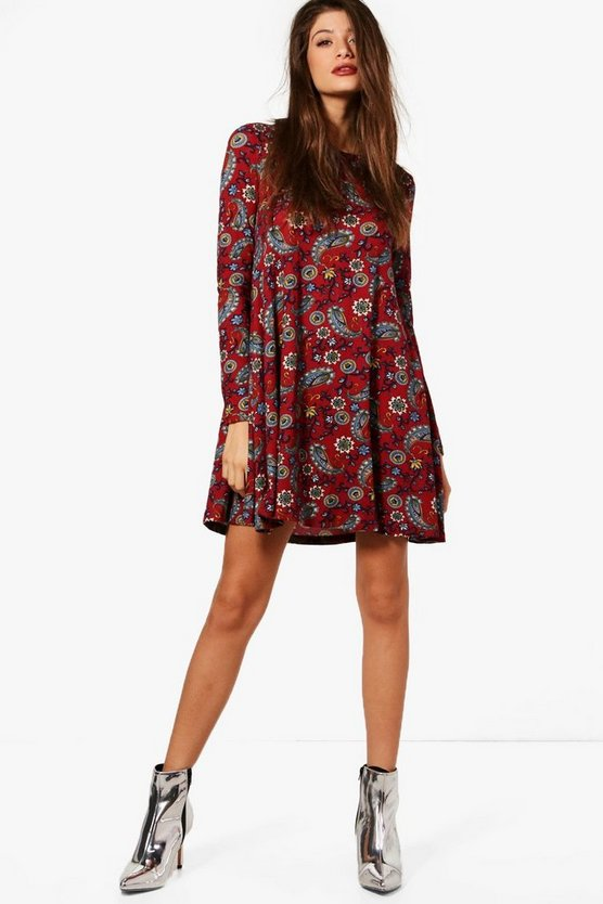 Georgia Paisley Print Brushed Knit Swing Dress