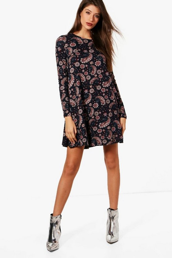 Paisley Print Brushed Knit Swing Dress