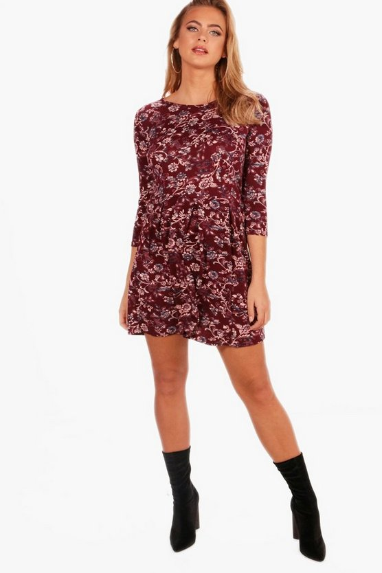 Liz Tonal Print Brushed Knit Skater Dress