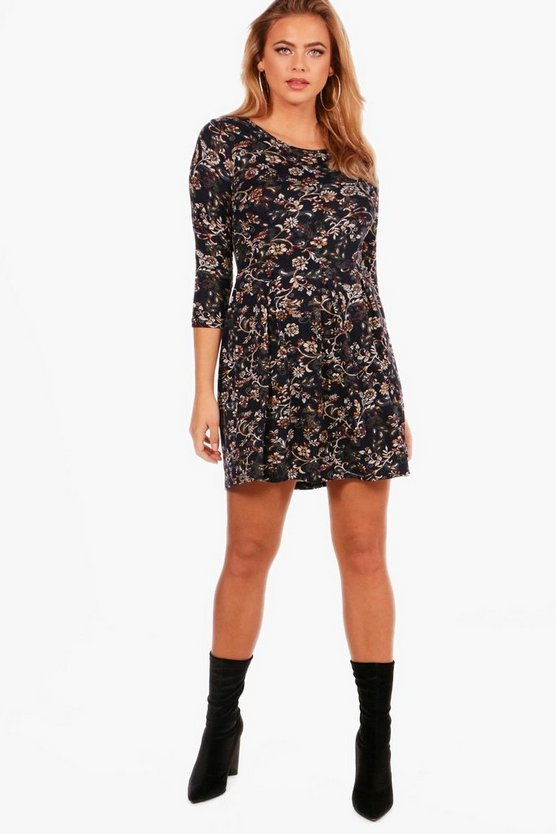 Tonal Print Brushed Knit Skater Dress