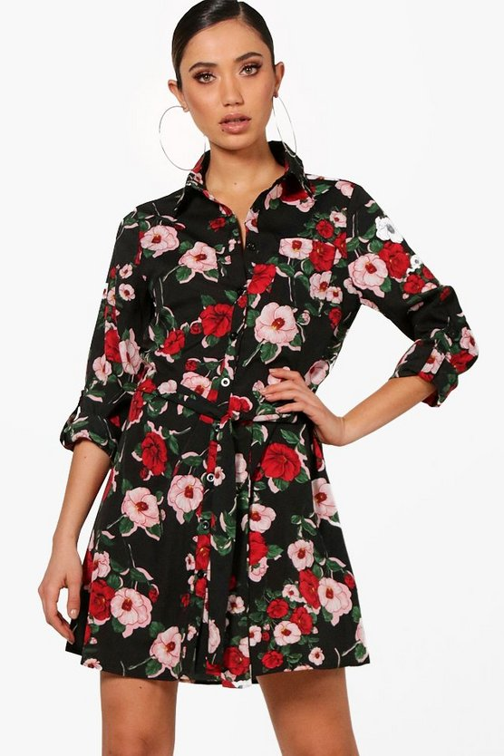 Alana Floral Tie Waist Shirt Dress