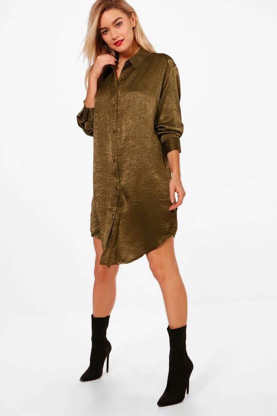 Kira 3 In 1 Hammered Satin Shirt Dress