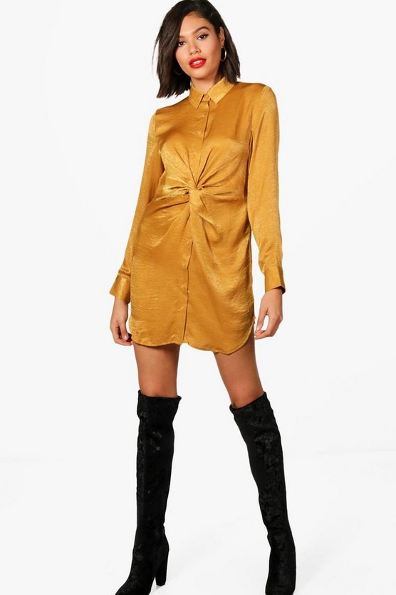 Isla Twist Front Hammered Satin Shirt Dress