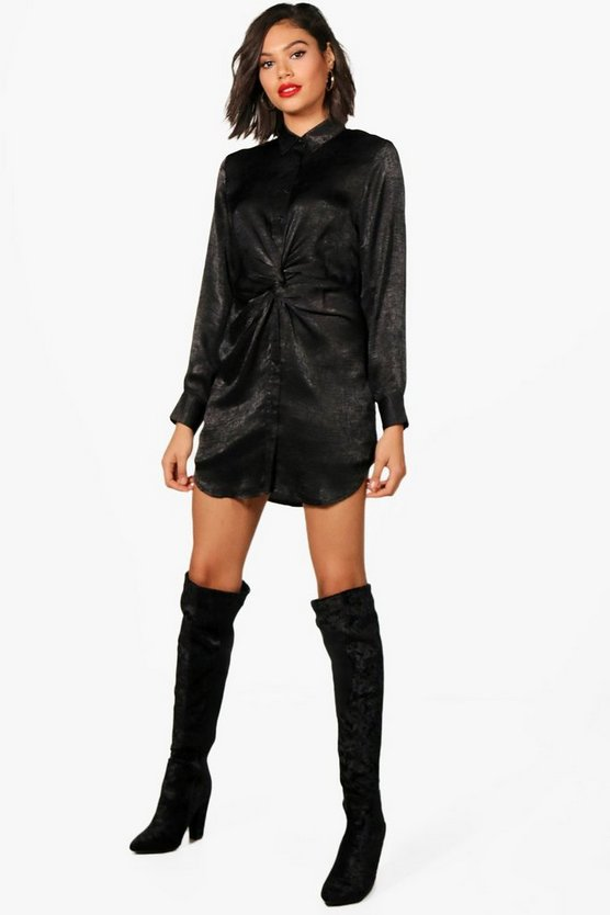 Twist Front Hammered Satin Shirt Dress