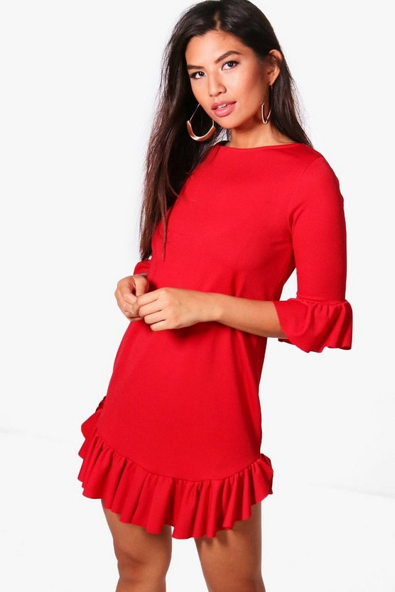 Kia Curved Ruffle Hem & Sleeve Shift Dress
