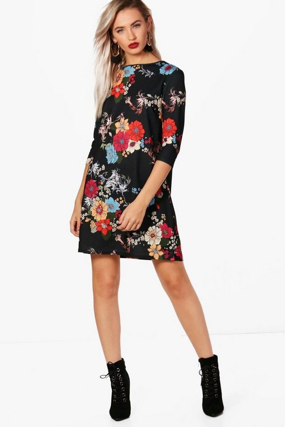 Soph Floral 3/4 Sleeve Shift Dress