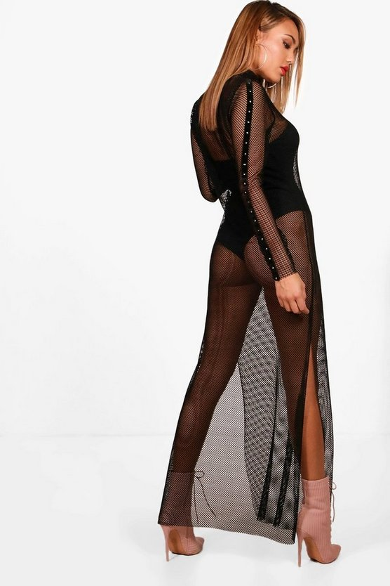 Fishnet Stud Trim Maxi Dress
