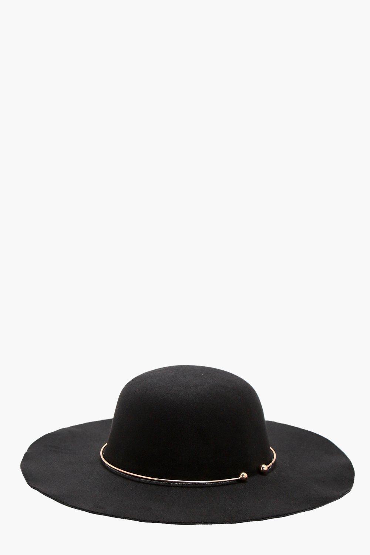 Ring Trim Floppy Hat - black - Olivia Ring Trim Fl