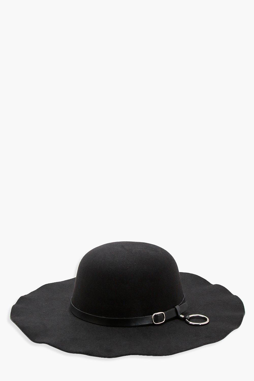 Ring Belt Trim Fedora - black - Jenny Ring Belt Tr