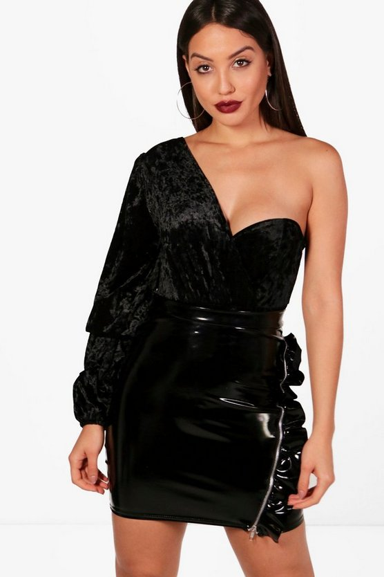 Crushed Velvet One Shoulder Bodysuit