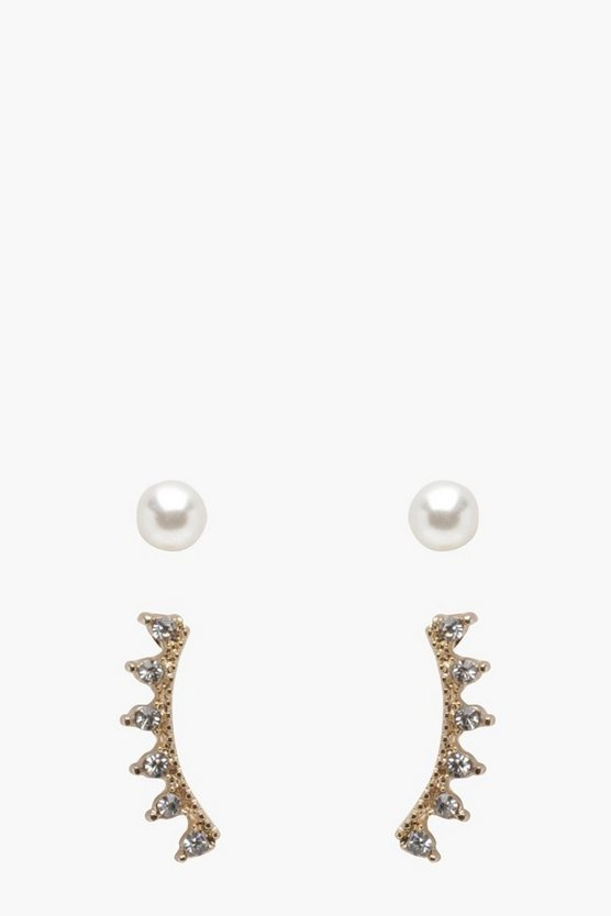 Millie Diamante Ear Cuffs And Pearl Studs Set