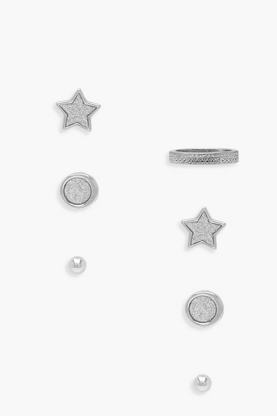 Lowri Star Stud And Pave Ring Set
