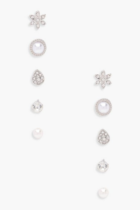 Eva Pearl And Diamante Studs 5 Pack