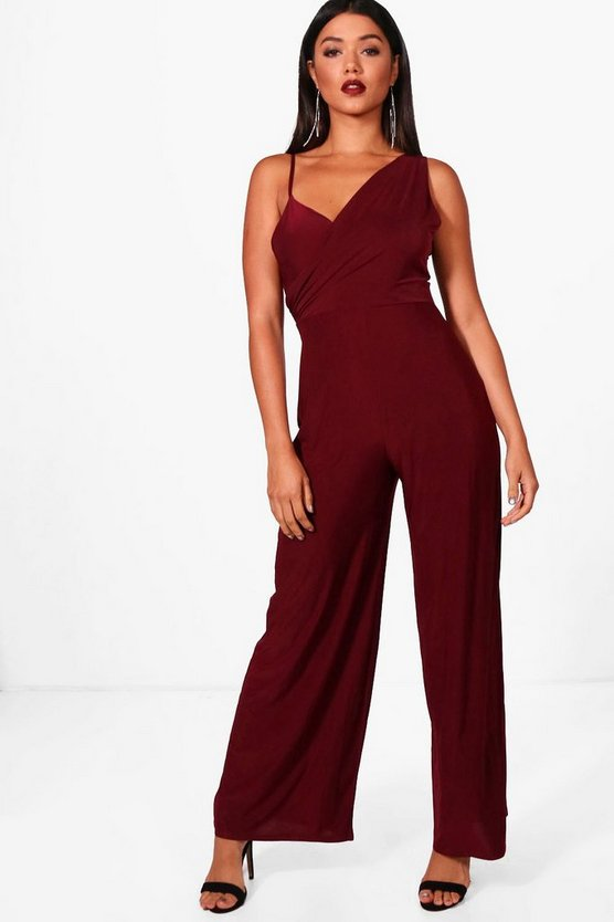 Kenna Wrap Front Slinky Jumpsuit