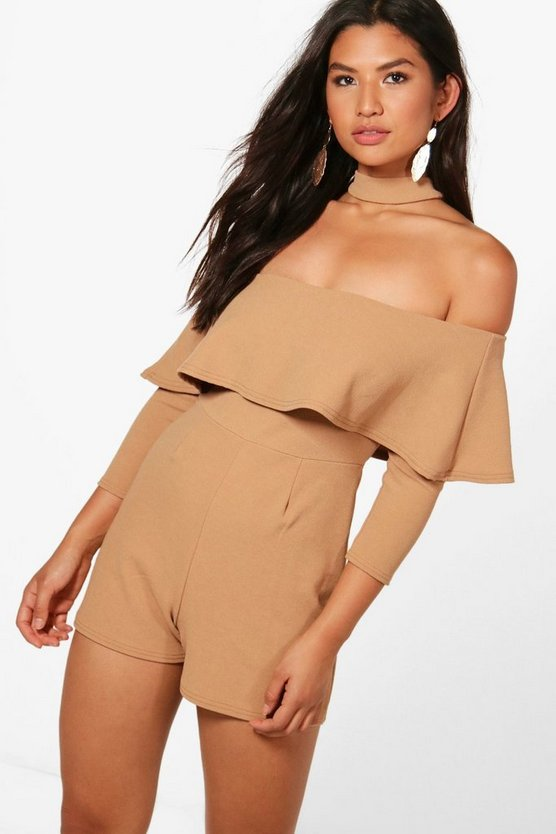 Laci Choker Frill Long Sleeve Playsuit