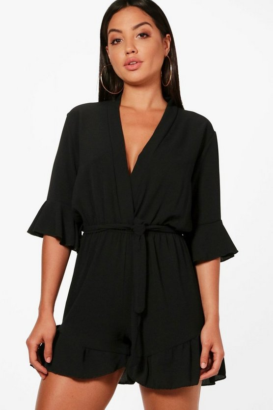 Wrap Over Ruffle Hem Playsuit