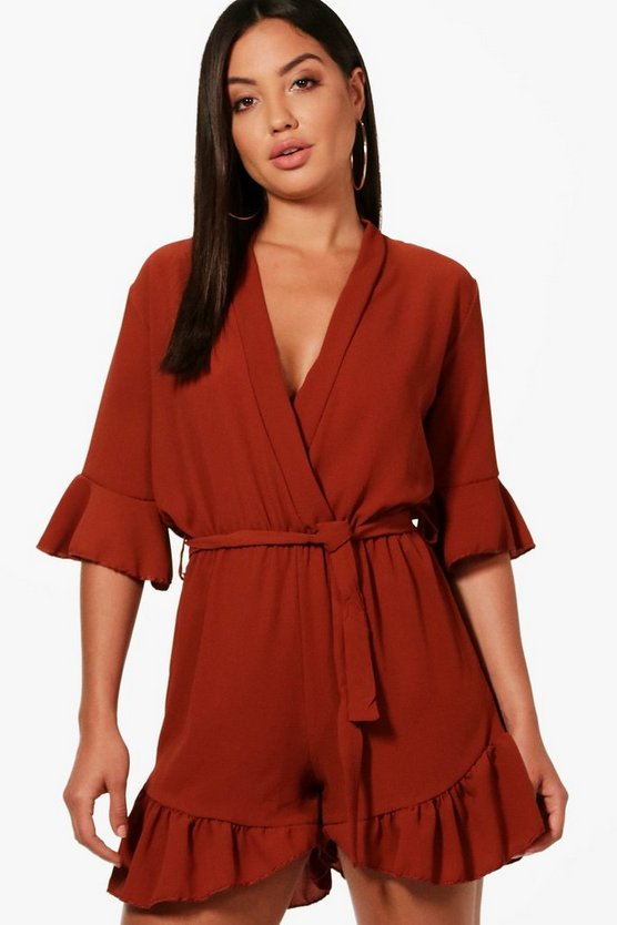 Tania Wrap Over Ruffle Hem Playsuit