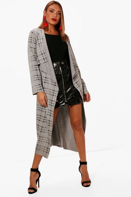 Sarah Belted Waterfall Check Duster