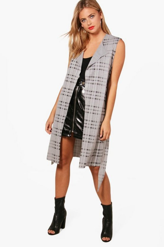 Rebecca Sleeveless Check Belted Duster