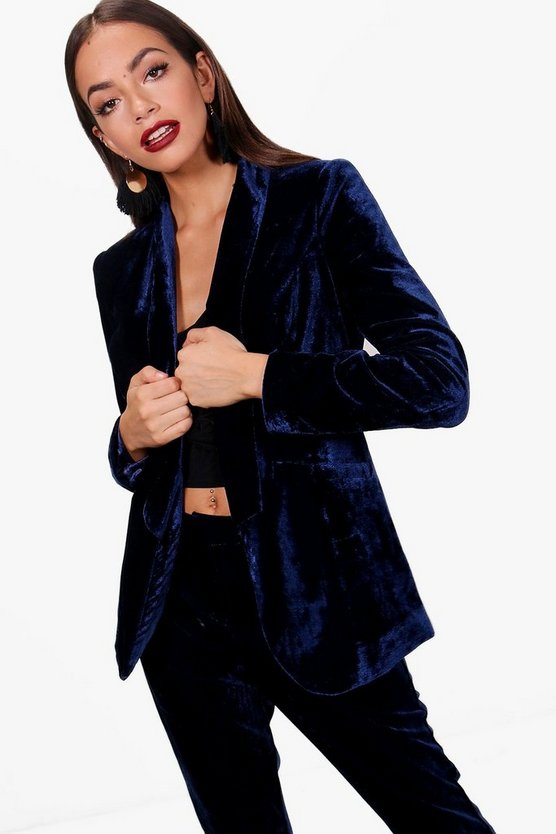Layla Tailored Velvet Tux Suit Blazer