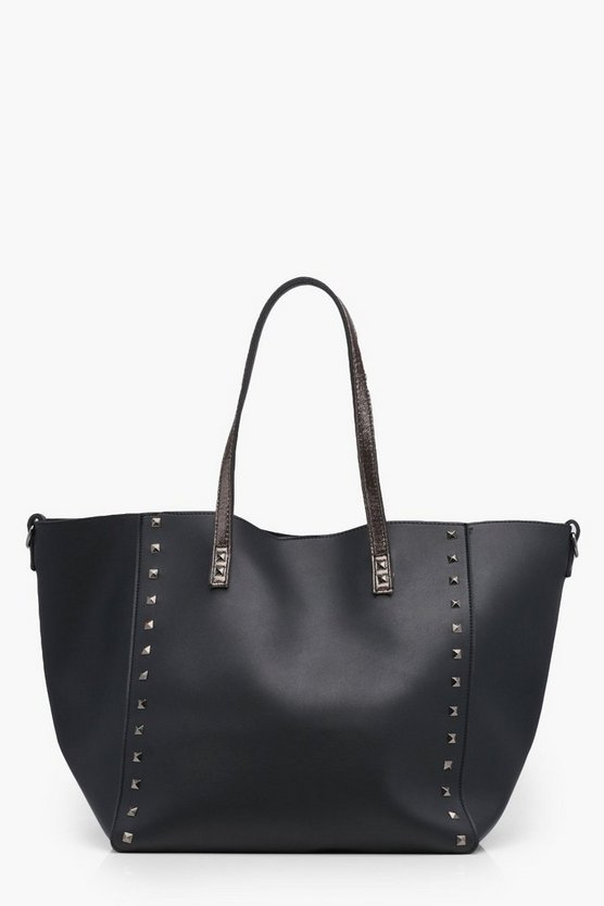 Hannah Studded Winged Contrast Shopper Bag