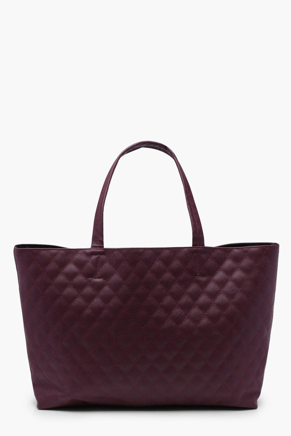 Quilted Shopper Bag - wine - Alicia Quilted Shoppe