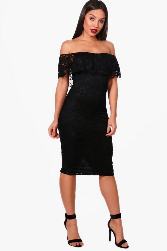Ari Scallop Lace Off the Shoulder Midi Dress