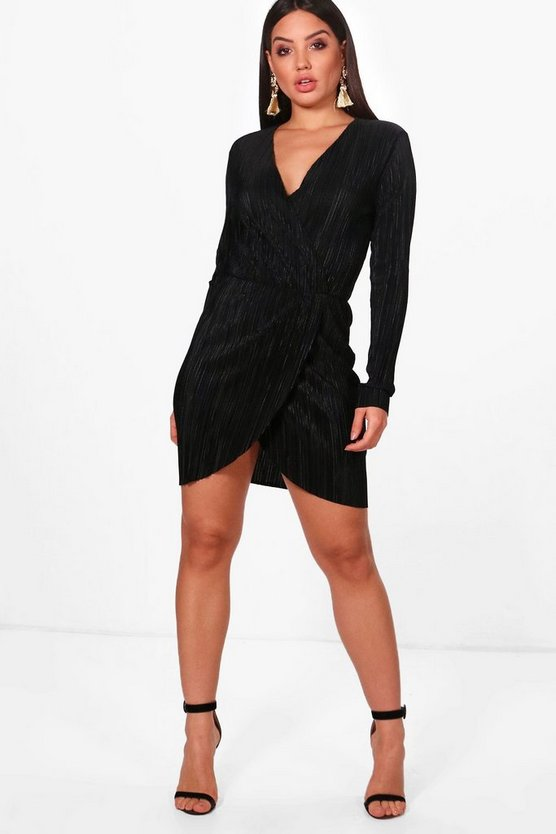 Pleated Long Sleeve Wrap Dress