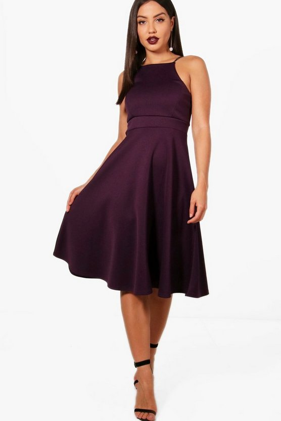 Yasmin Strappy Midi Skater Dress