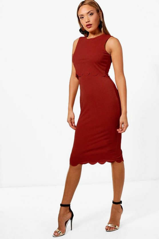 Sakura Scallop Edge Double Layer Midi Dress