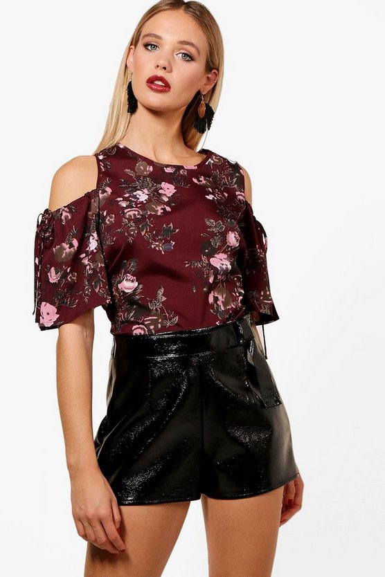 Callie Dark Floral Cold Shoulder Top