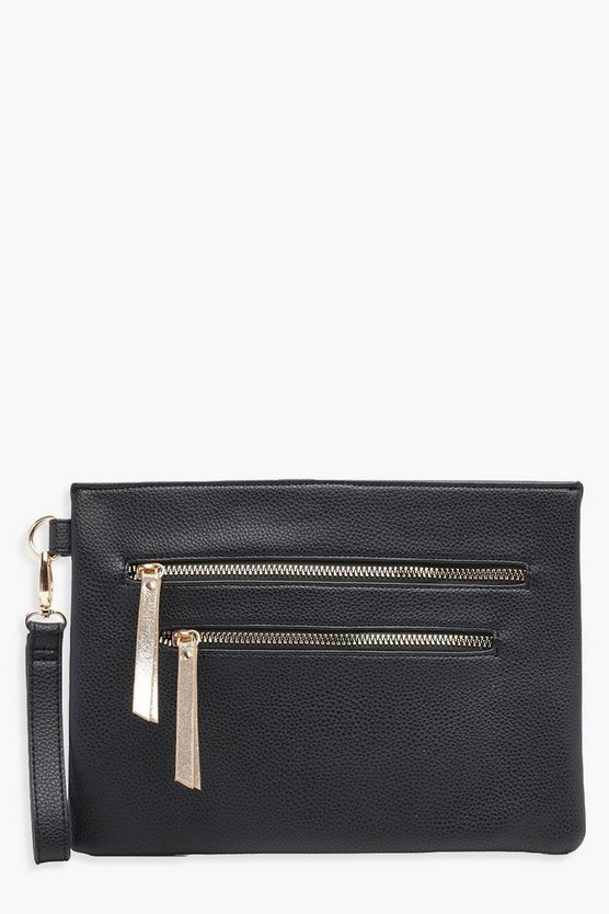 Lucy Double Zip Wristlet Clutch Bag
